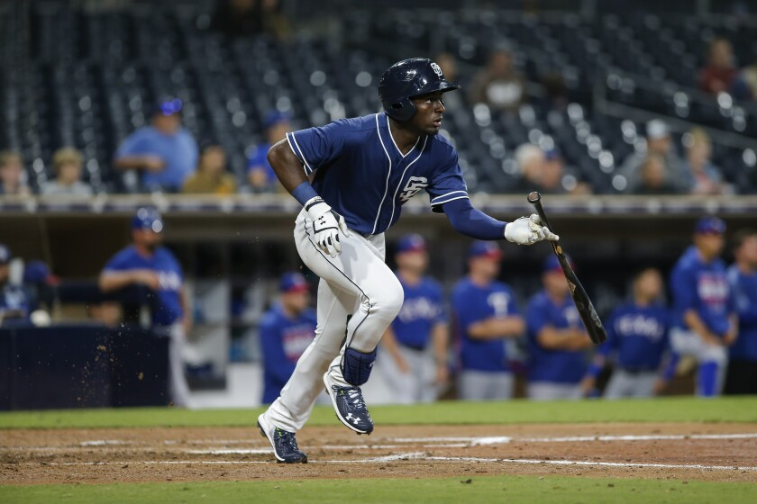 Padres center fielder Taylor Trammell singles to load the bases in the fourth inning on Tuesday in the Don Welke On Deck Classic at Petco Park.