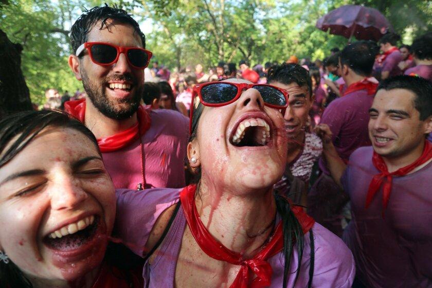 """Participants at the """"Batalla del Vino"""" in Haro, Rioja"""