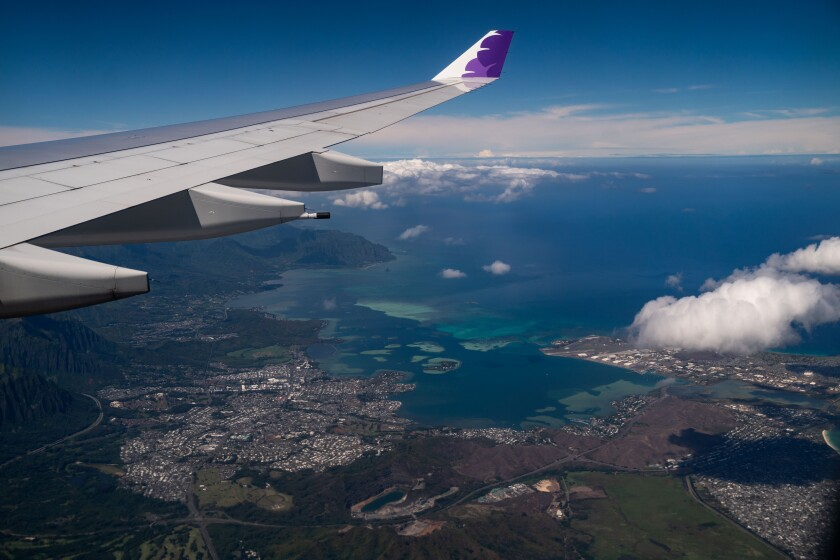 A view of Oahu from aboard a Hawaiian Airlines flight Thursday.