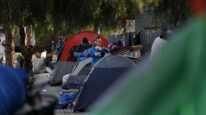 A sidewalk homeless encampment in Los Angeles' skid row neighborhood in February 2018.