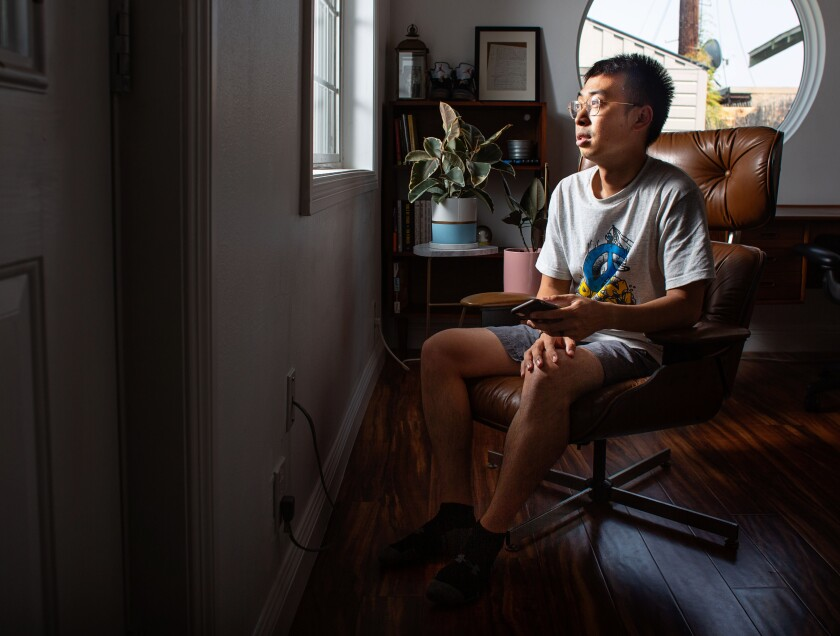 Entrepreneur Eden Chen in his L.A. home office. He uses WeChat to communicate with businesses in China.