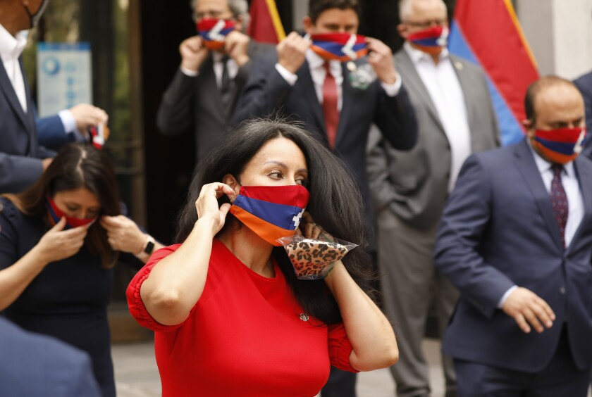 L.A. City Council President Nury Martinez dons a face mask bearing the flag of the Republic of Artsakh.