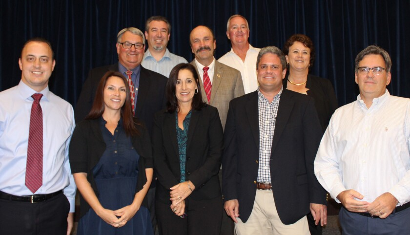 Poway City Council candidates include, front row, Christopher Olps, Torrey Powers, Julie Bendinelli, Jonathan Ryan and John McConnin; middle row, Joe Calabrese, Councilman Jim Cunningham and Amy Romaker; and back row, Sean Finley and Councilman Barry Leonard.