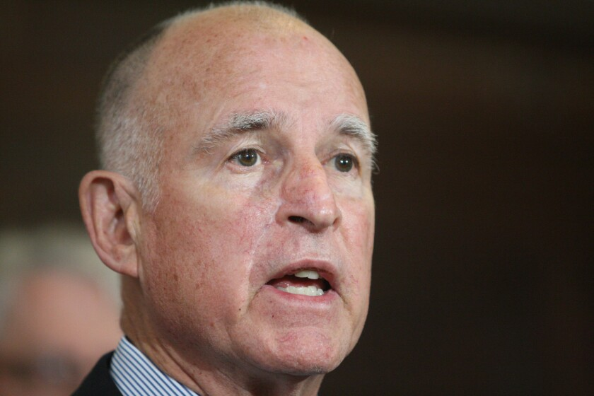 Gov. Jerry Brown is calling on three Democratic state senators to resign from the Legislature.
