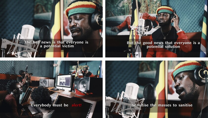 This compilation image made from video frames from the latest music video of Bobi Wine shows the singer recording an informational video educating the public about the dangers of the coronavirus.