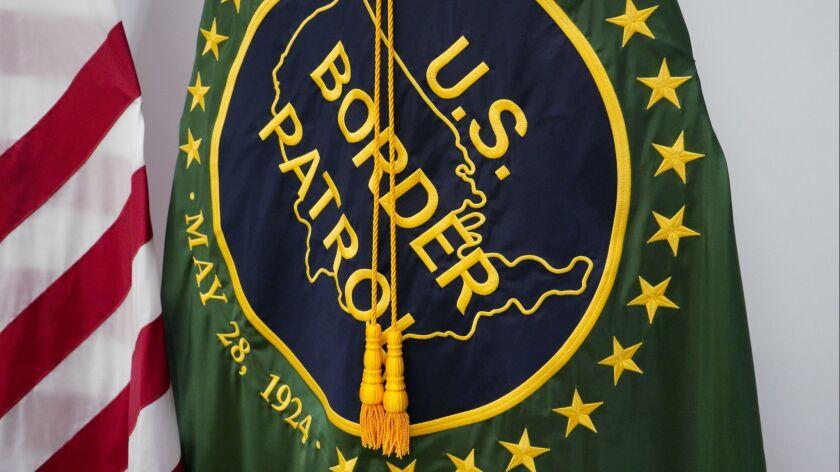 U.S. Border Patrol flag on display before U.S. Department of Homeland Security Secretary Kirstjen M.