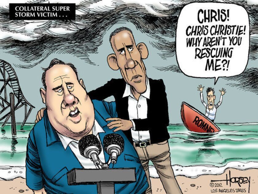 Chris Christie and Hurricane Sandy give Obama a timely boost