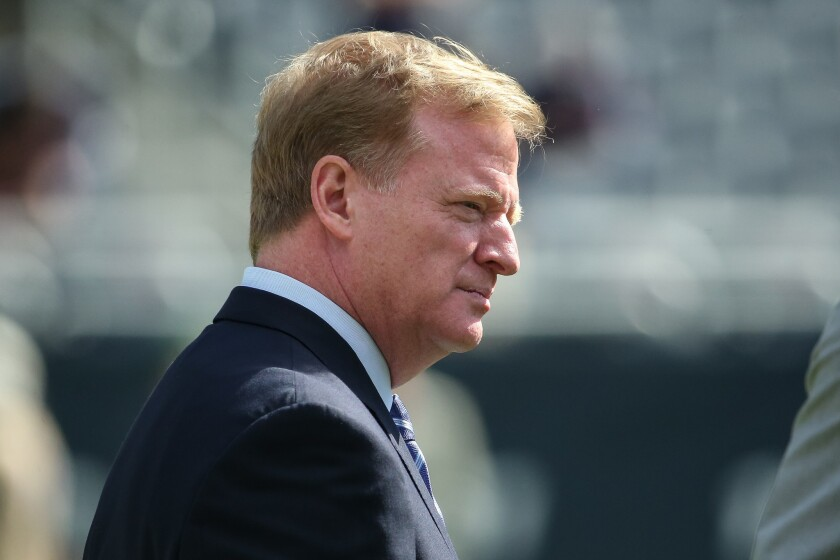 NFL Commissioner Roger Goodell stands on the field prior to a game between the Bears and Packers.
