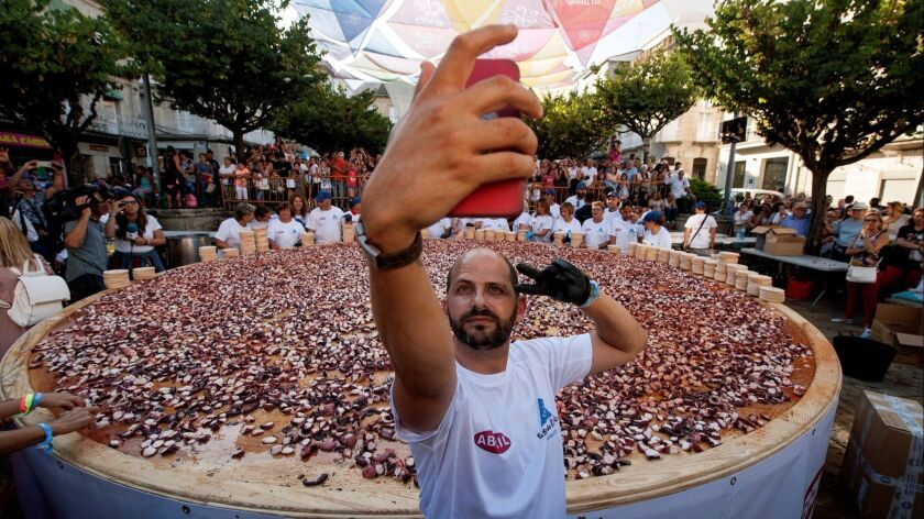 People gather to beat new record of octupus tapa, O Carballi? (Ourense), Spain - 07 Aug 2018