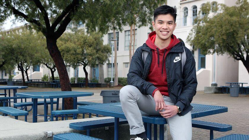 Young inventor and Crescenta Valley High School senior Lyron Co Ting Keh, 17, at his school on Monda