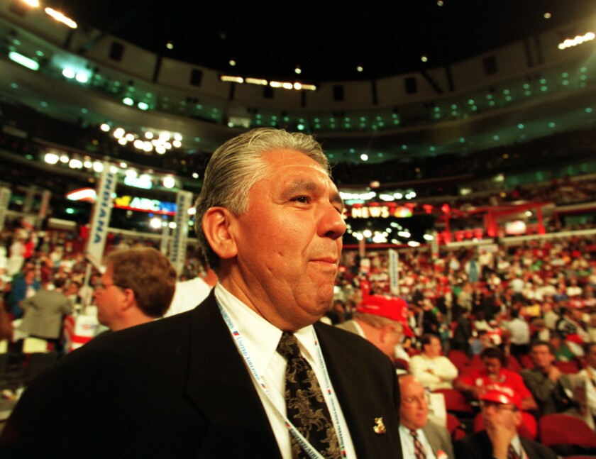 Art Torres is the latest California Democrat to endorse Kamala Harris in her bid for the U.S. Senate. Above, Torres on the floor of the 1996 Democratic National Convention in Chicago.