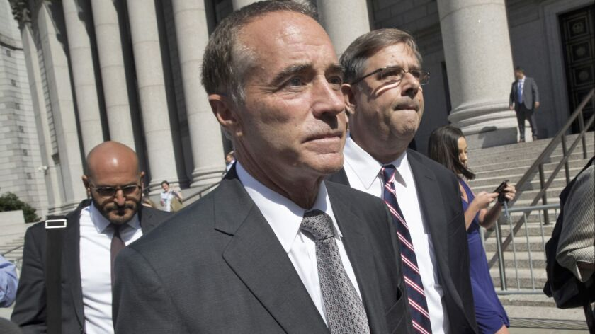 Rep. Chris Collins (R-N.Y.) was indicted this month on charges of insider trading. He was the first House member to endorse Trump; Hunter was No. 2.