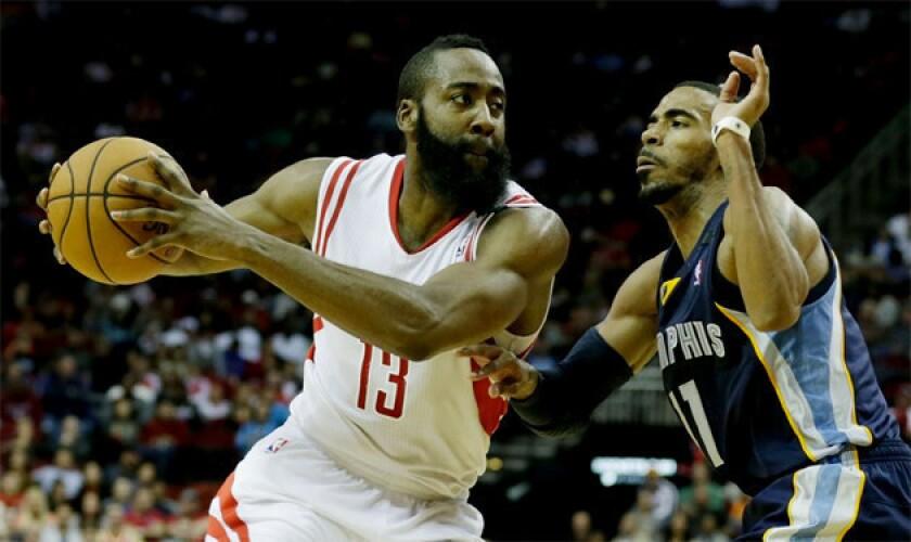 James Harden, left, is averaging 26.4 points for the Houston Rockets.