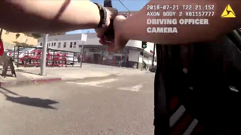 In this Saturday, July 21, 2018 frame from body camera video released by the Los Angeles Police Depa
