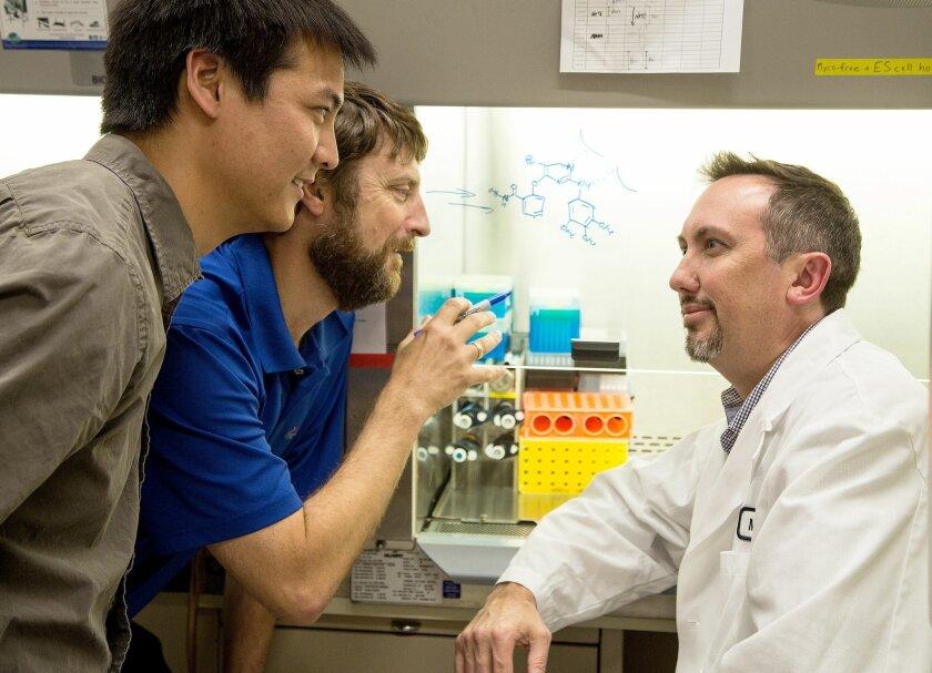 Center, Nicholas Cosford of Sanford Burnham Prebys Medical Discovery Institute. Left, Matthew Chun and right, Reuben Shaw, both of the Salk Institute.