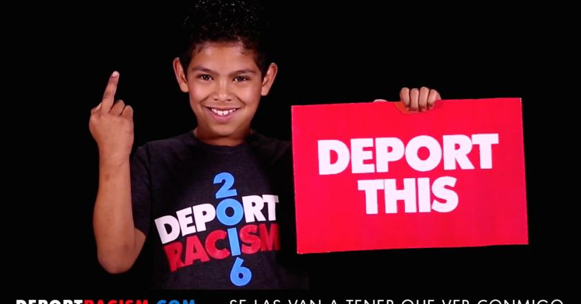 Foto de la propaganda del video de la campaña #deportracism2016 en