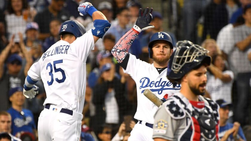 Cody Bellinger, left, celebrates with teammate Max Muncy after hitting a solo home run during the sixth inning of the Dodgers' 5-1 victory over the San Diego Padres on Thursday. Is this the best Dodgers team in 31 years?