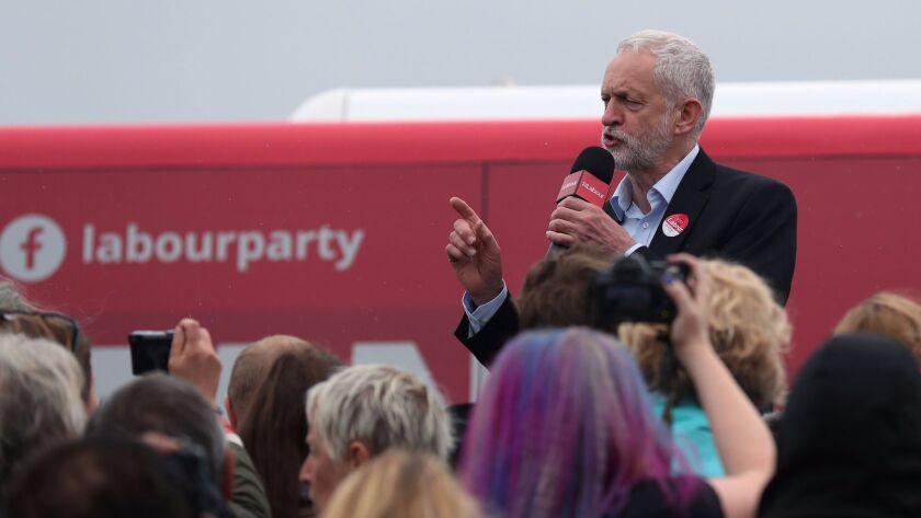 Britain's main opposition Labor Party leader, Jeremy Corbyn, speaks during a general election campai