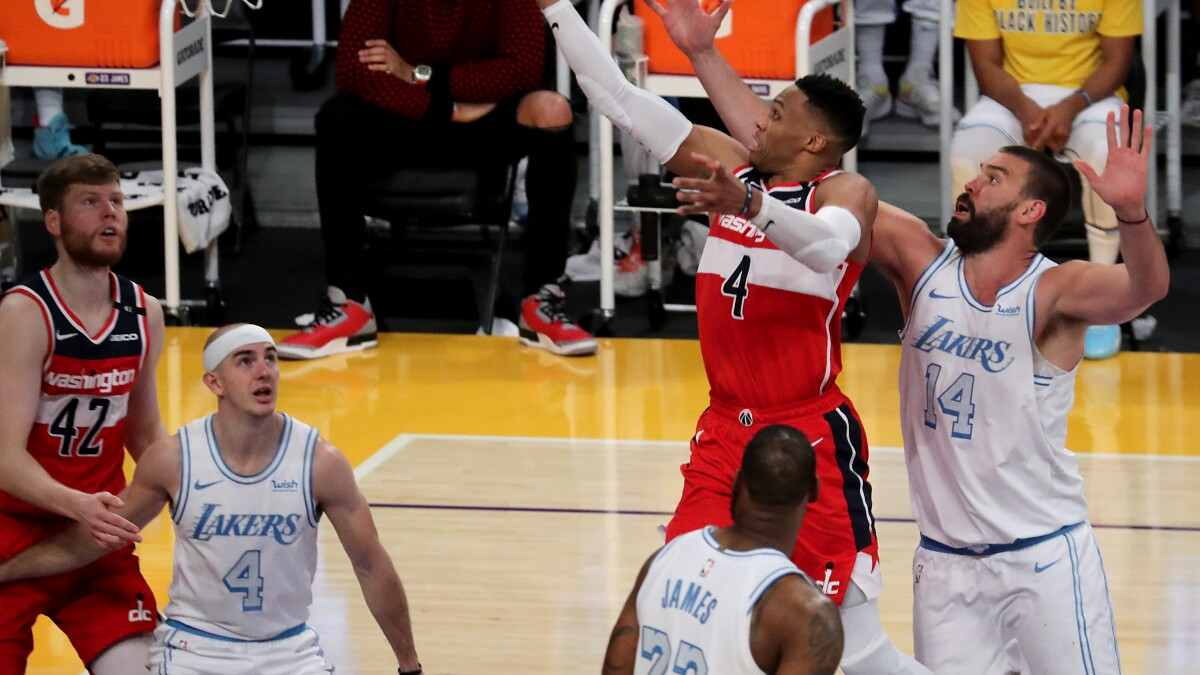 The Sports Report: Stumbling Lakers lose to Wizards in overtime - Los  Angeles Times