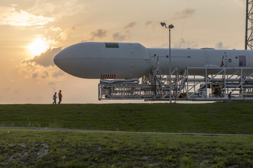 SpaceX will attempt to land a stage of its Falcon 9 rocket, such as the one shown here, off the Southern California coast