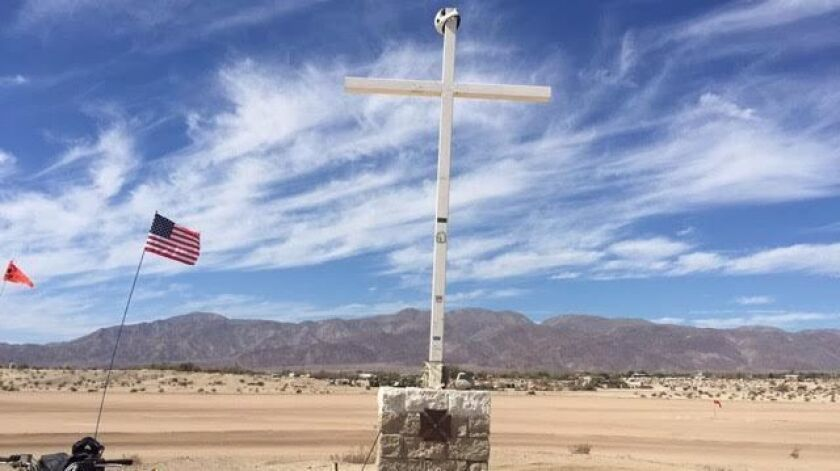 Residents in Ocotillo Wells are petitioning to save a memorial cross for a fallen soldier that sits on county-owned land. The county says it received one complaint about the cross and has to remove it or modify it.