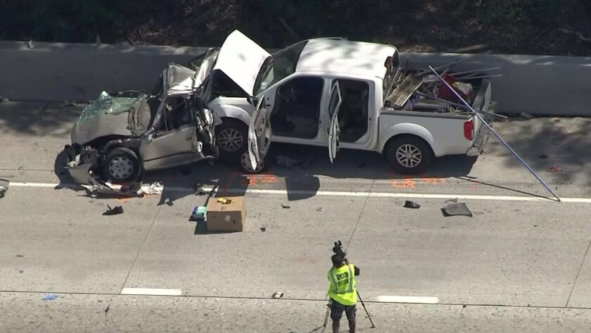 Possible DUI crash on the 10 Freeway in Fontana leaves four