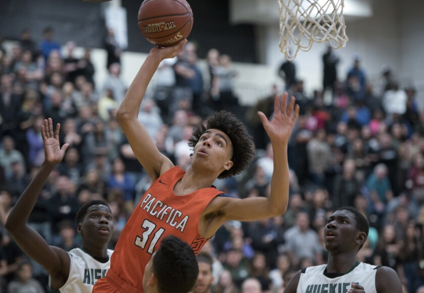 Pacifica Christian Orange County guard Houston Mallette shoots a layup during the CIF Southern Secti