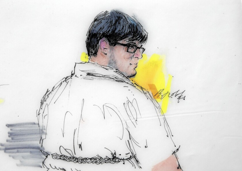 In this sketch, Enrique Marquez Jr. appears in federal court in Riverside. He was charged with buying the rifles used in the massacre at the Inland Regional Center in San Bernardino on Dec. 2.