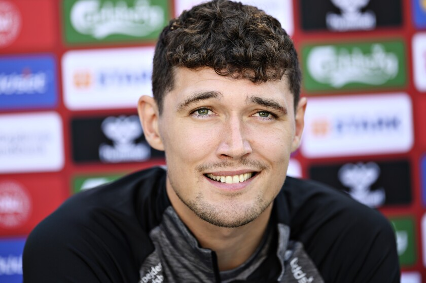 Denmark's Andreas Christensen attends a press conference in Elsinore, Denmark, Monday July 5, 2021, ahead of their Euro 2020 soccer championship semifinal match against Denmark in London on Wednesday. (Philip Davali/Ritzau Scanpix via AP)