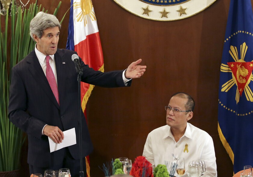 U.S. Secretary of State John F. Kerry, left, during a meeting last month with Philippine President Benigno Aquino III at Manila's Malacanang Presidential Palace. The United States has commitments to defend allies in East Asia, giving Washington a stake in the escalating dispute between China and its neighbors over air and maritime access to the South China Sea.