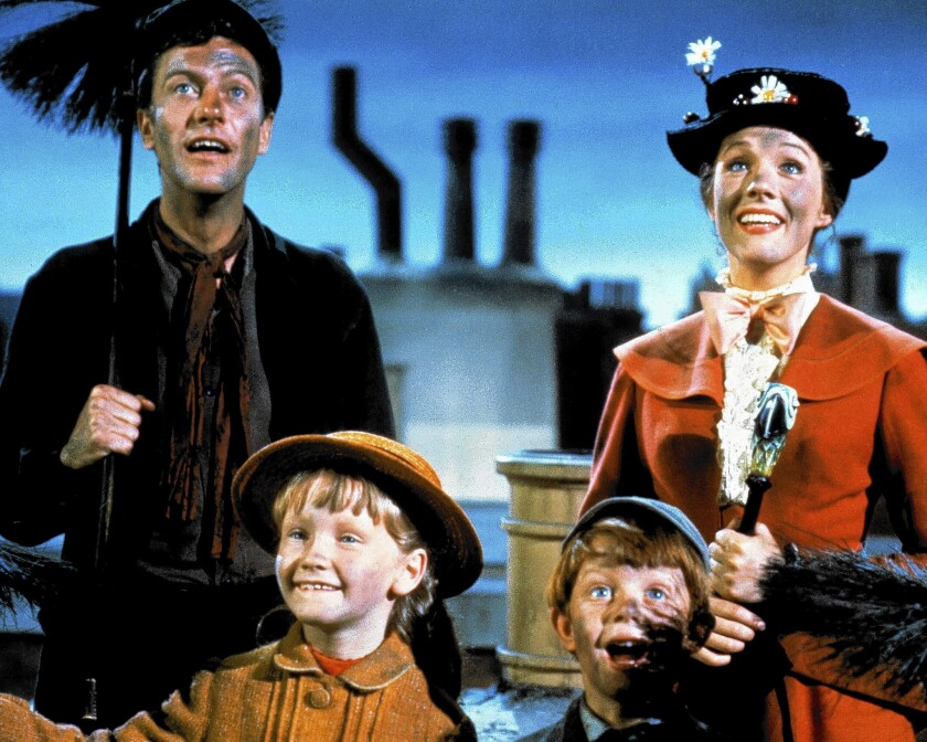 "Dick Van Dyke, left, Karen Dotrice, Matthew Garber and Julie Andrews  ""Mary Poppins"" (1964)."