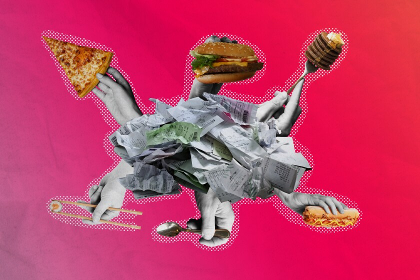 photo illustration of receipts and food