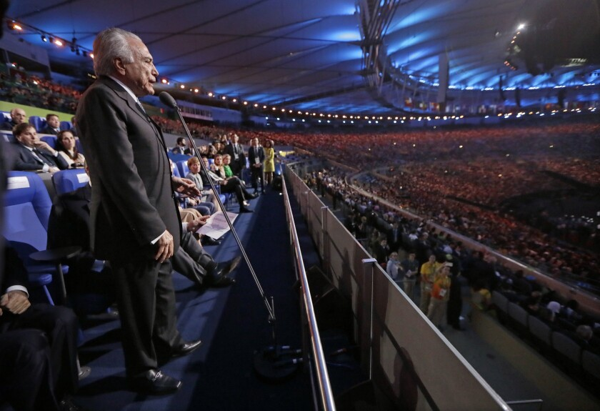 Interim Brazilian President Michel Temer speaks -- without being introduced -- at the opening ceremony of the 2016 Summer Olympics at the Maracana soccer stadium in Rio de Janeiro.
