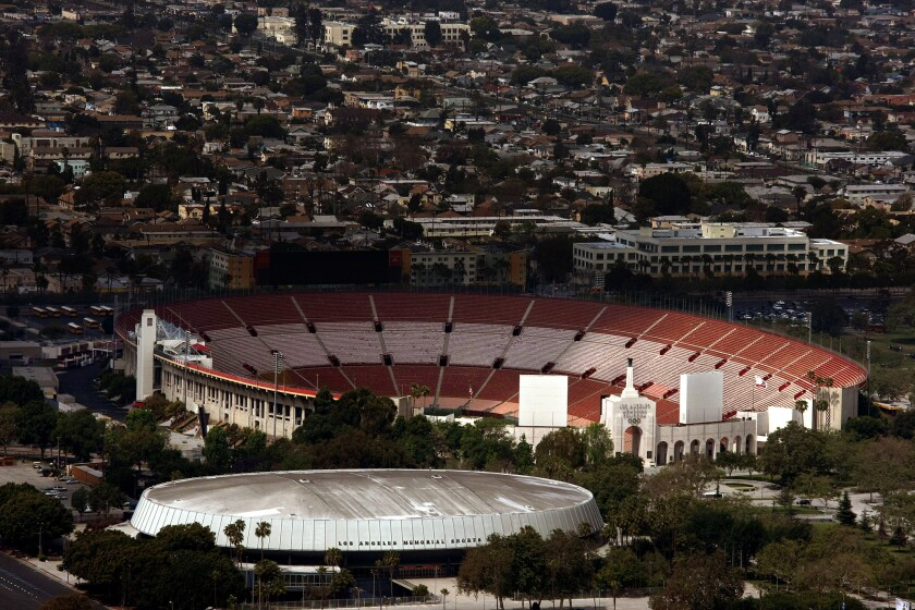 Aerial view of the Los Angeles Memorial Coliseum, where a security guard alleges he was trampled by fans after USC's football team beat Stanford.