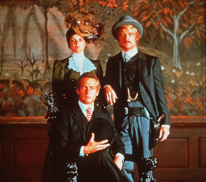 """Katherine Ross, left, Paul Newman and Robert Redford pose for a photo in """"Butch Cassidy and the Sundance Kid"""" (1969)."""