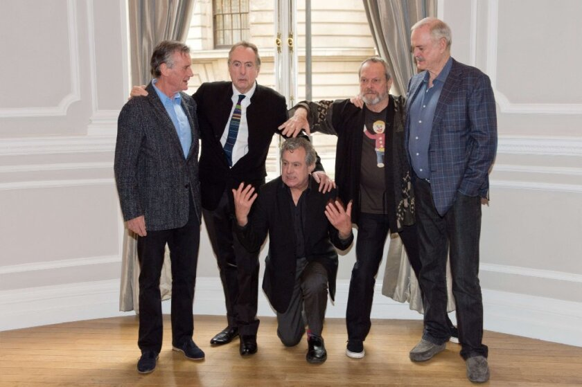 Michael Palin, Eric Idle, Terry Jones, Terry Gilliam and John Cleese pose for a photograph during a Monty Python press event in London on Thursday.