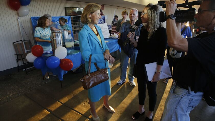 Costa Mesa mayoral candidate Sandy Genis is interviewed during meet and greet before the Feet to the