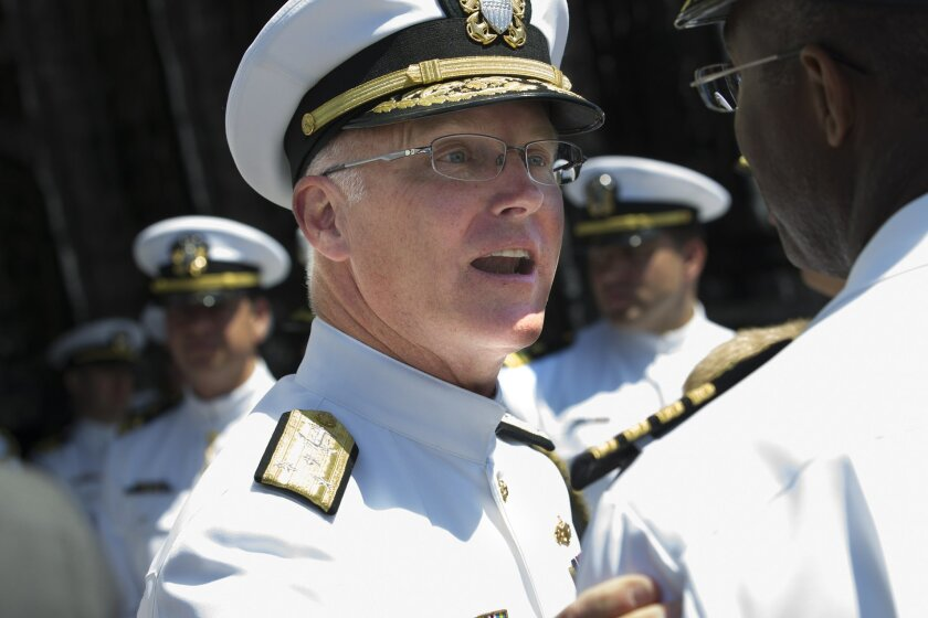 Vice Admiral Thomas Rowden, who assumed command of Naval Surface Force, U.S. Pacific Fleet is greeted by fellow officers following the change of command ceremony.