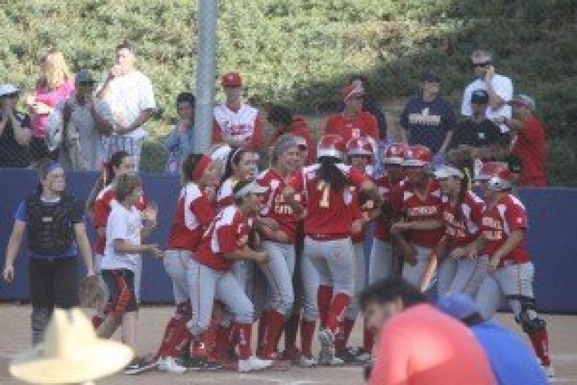 Cathedral teammates celebrate home run!