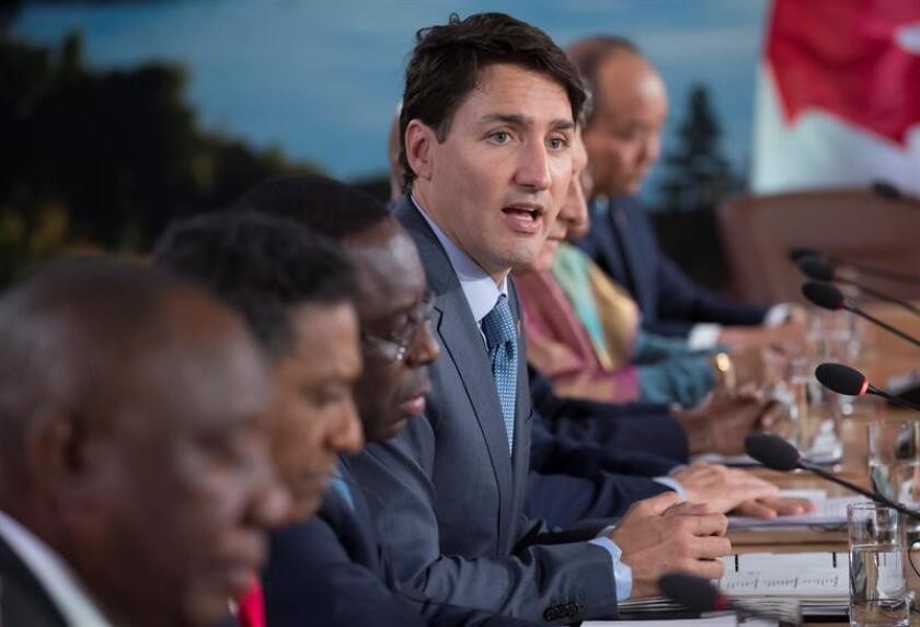 Canadian Prime Minister Justin Trudeau attends the G7 Outreach work session at the G7 summit in Charlevoix in Canada, 09 June 2018. EFE/EPA