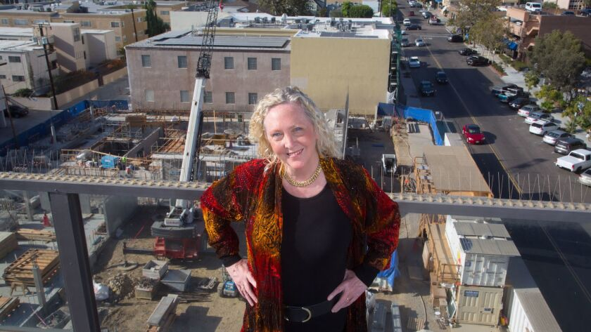 Kristin Lancino, the new president and artistic director of the La Jolla Music Society near the site