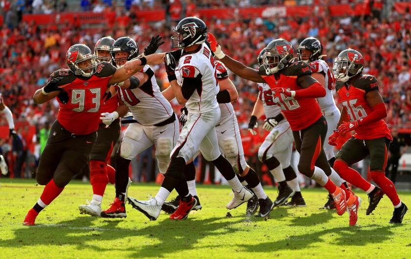 Atlanta Falcons quarterback Matt Ryan throws a pass against the Tampa Bay Buccaneers.