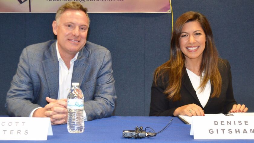 Congressman Scott Peters and his 52nd Congressional District challenger Denise Gitsham before their debate in Rancho Bernardo on Oct. 27.