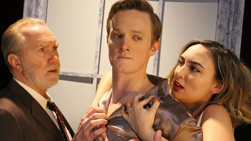 """Harry Groener, left, Ross Philips and Rebecca Mozo costar in Antaeus Theatre Company's """"Cat on a Hot Tin Roof."""""""