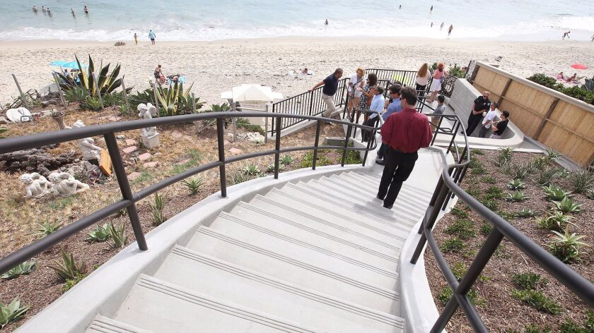 Brand new stairs leading to Mountain Road beach, next to the Garden of Peace and Love, were officially opened on Tuesday in Laguna Beach after a ribbon-cutting ceremony.