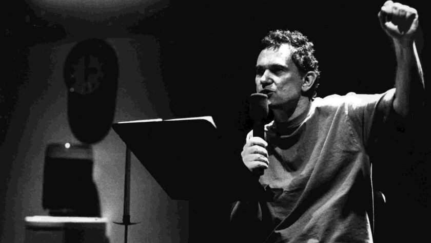 Joe Frank, pictured here in 1989 during a performance at MOCA, died on Monday January 22, 2018 in Be