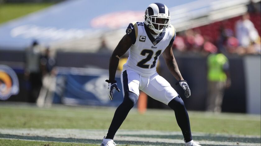 Rams defensive back Aqib Talib stands on the field Sunday durng a game against the Chargers.