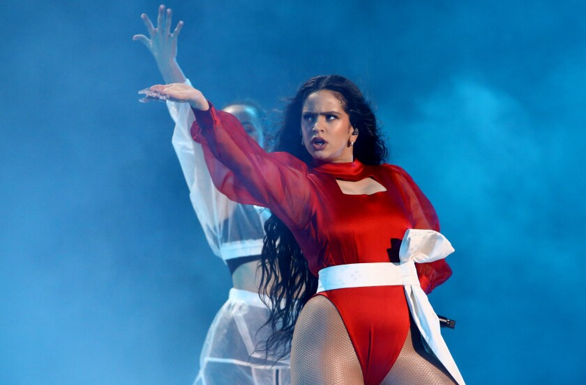 Rosalía performs onstage during the Latin Grammy Awards