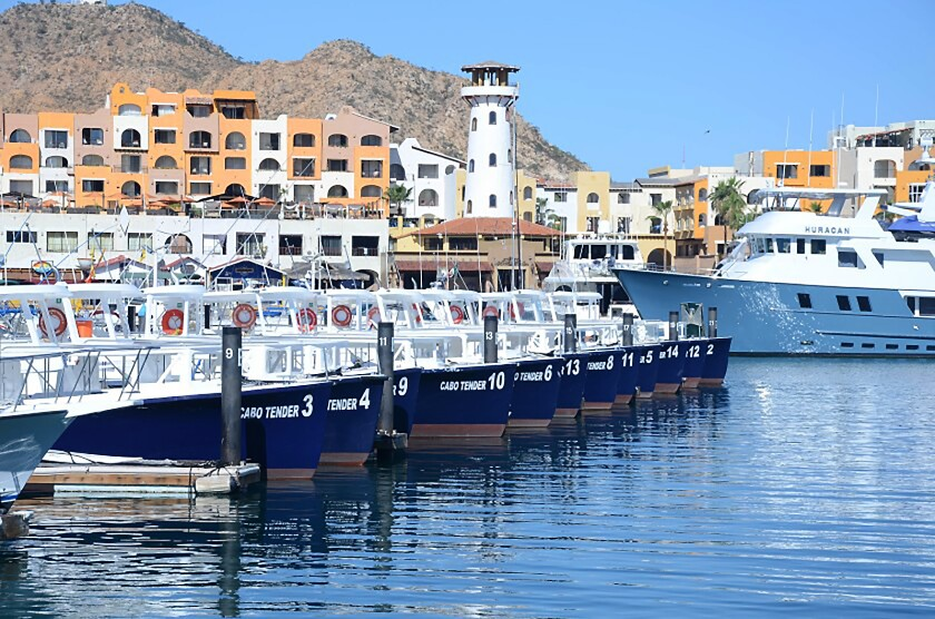 Tenders at Cabo San Lucas wait to carry cruise passengers between ship and shore.