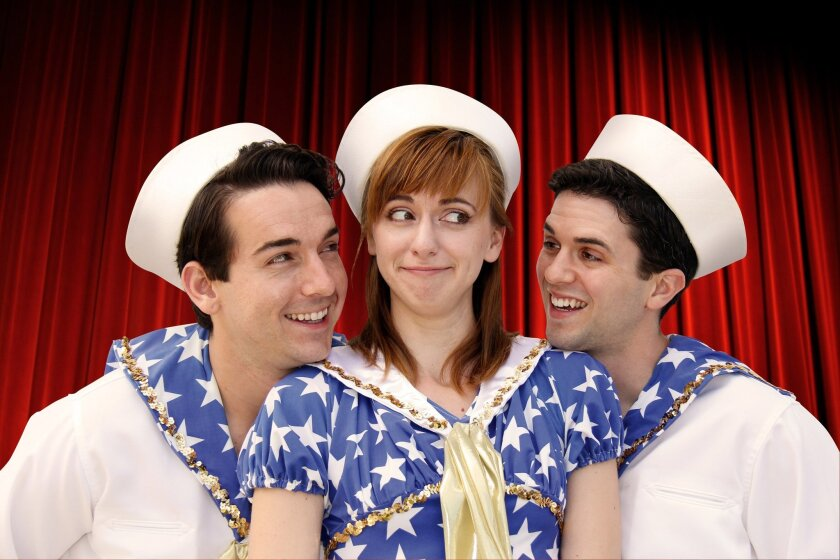 """Luke Jacobs, Sarah Errington and Jeffrey Scott Parsons (left to right) in North Coast Rep's """"Dames At Sea."""""""